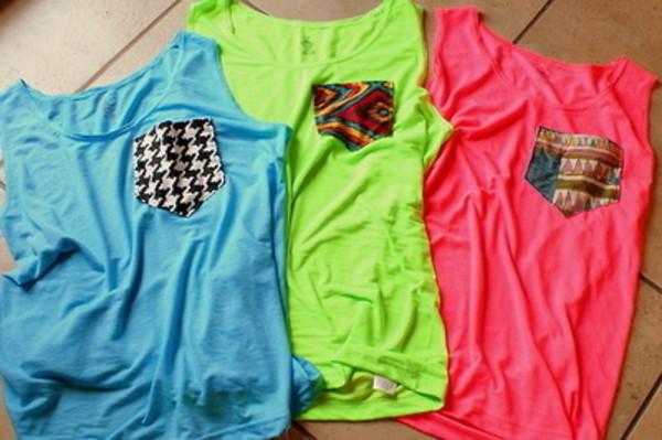 tank top clothes tank top fashion cute bright shirt with pocket t-shirt neon green pink blue ethnic print neon pink shirt