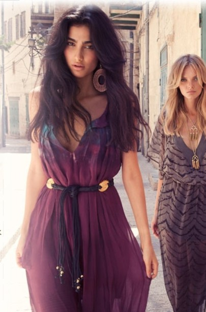 dress maxi gypsy boho hippie bohemian purple belt sexy deep v neck maxi dress
