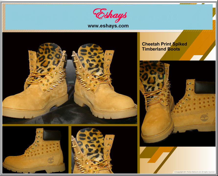 Customized Timberlands With Spikes Custom Spiked Tan Fur Cheetah