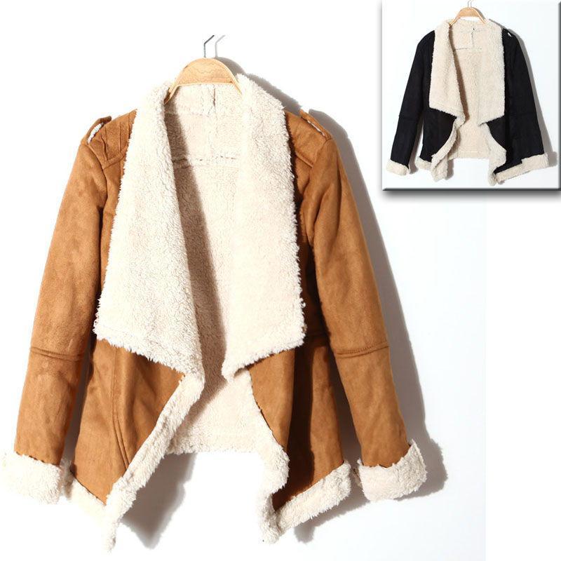 Cheap Leather & Suede - Best Black Khaki Autumn Winter New Womens Asymmetric Open Lapel Long Sleeve Faux Suede Warm Coat Tops Outerwear Online with $51.41/Piece | DHgate