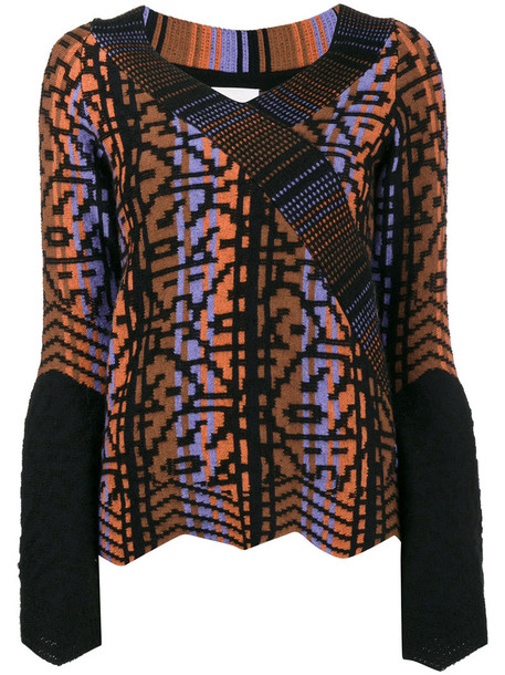 Peter Pilotto top knitted top women blue wool pattern