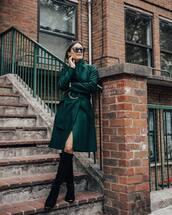 coat,wool coat,high neck,belt,suede boots,black boots,flat boots,sunglasses,hoop earrings