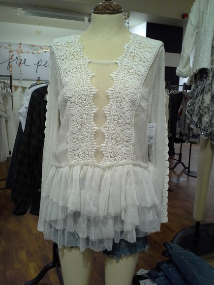 blouse white lace top long sleeves free people ruffle