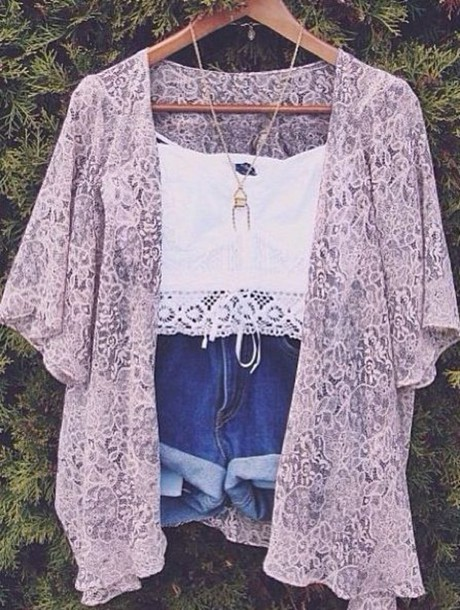 top music festival kimono white crop tops