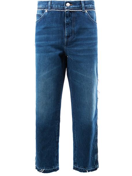 Alexander Mcqueen jeans boyfriend jeans cropped women boyfriend cotton blue