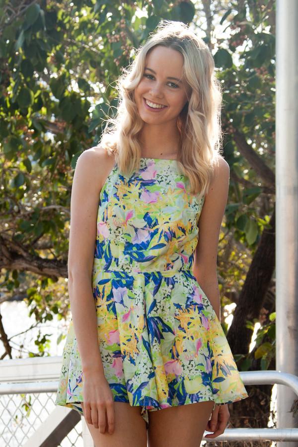 romper romper floral cute backless green blue pink shopfashionavenue