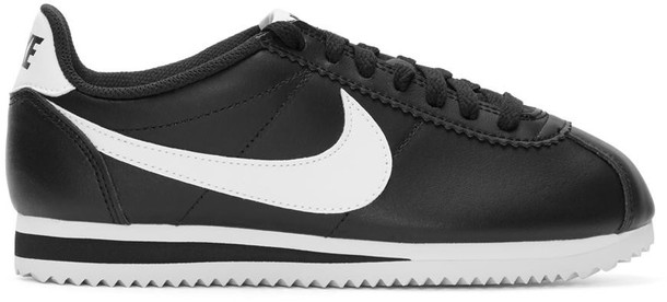 Nike classic sneakers leather white black black and white shoes