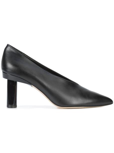 pointed toe pumps women pumps leather black shoes