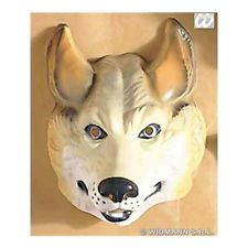 Childs kids boys plastic wolf mask fancy dress costume
