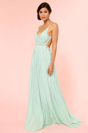 Pretty Mint Dress - Crochet Dress - Maxi Dress - Lace Dress - $54.00