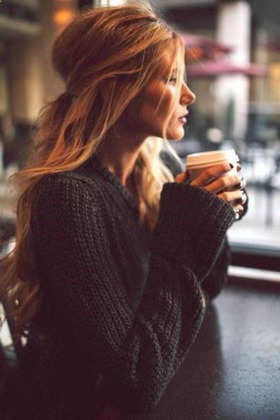sweater fluffy jacket knitwear knitted sweater starbucks coffee coffee