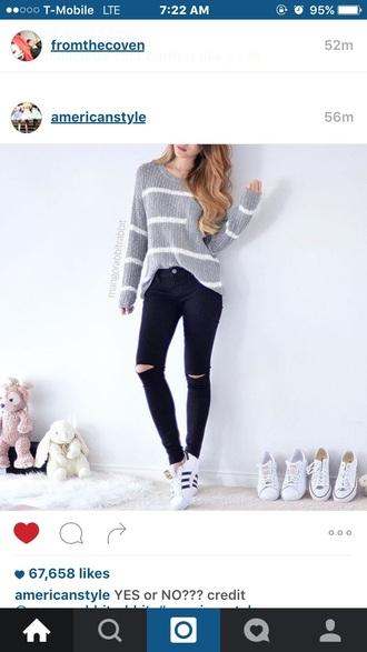 top white grey black sweater stripes tumblr outfit adidas