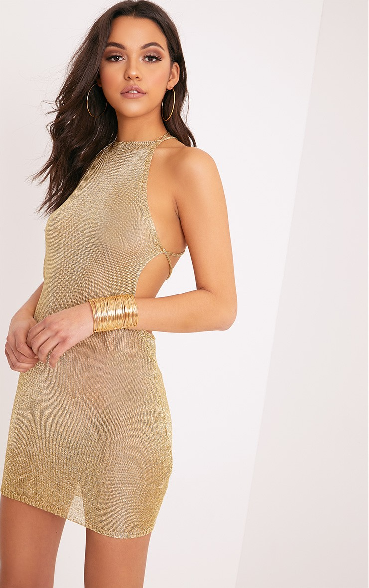 Charlay Gold Sheer Metallic Knitted Halterneck Dress