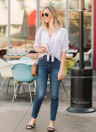 jeans shoes bag cupcakes and cashmere blogger shirt sandals tie-front top spring outfits
