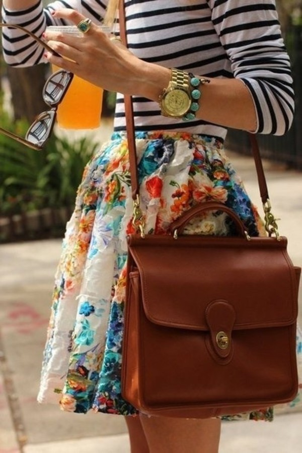 bag brown dress skirt floral pretty clothes girly skater skirt cute taylor swift spring summer warm stripes jewelry colourful skirt