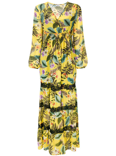 dress maxi dress maxi women floral yellow orange
