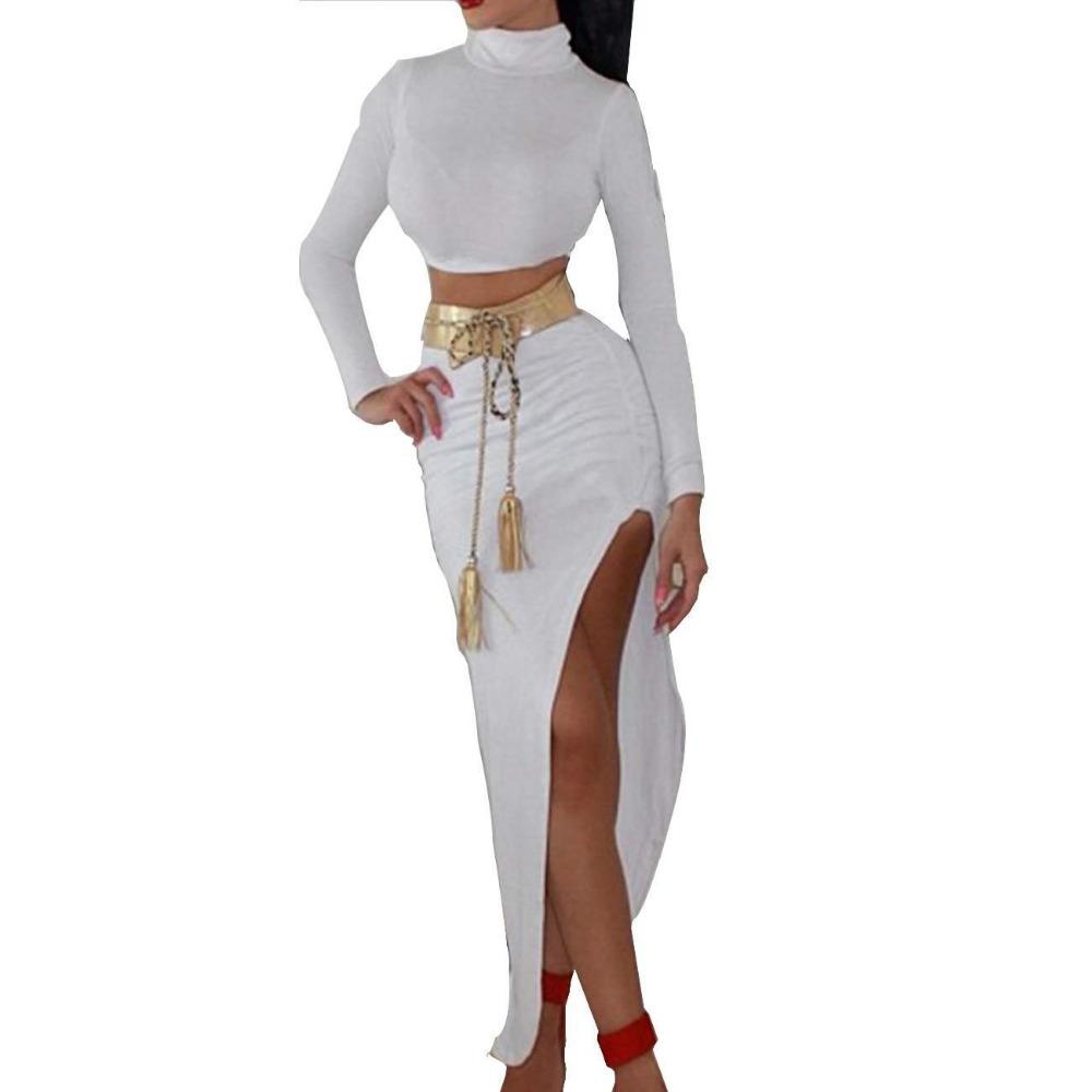 Connu 2 Piece Set Women Two Piece Outfits High Collar Long Sleeve Maxi  ZP55