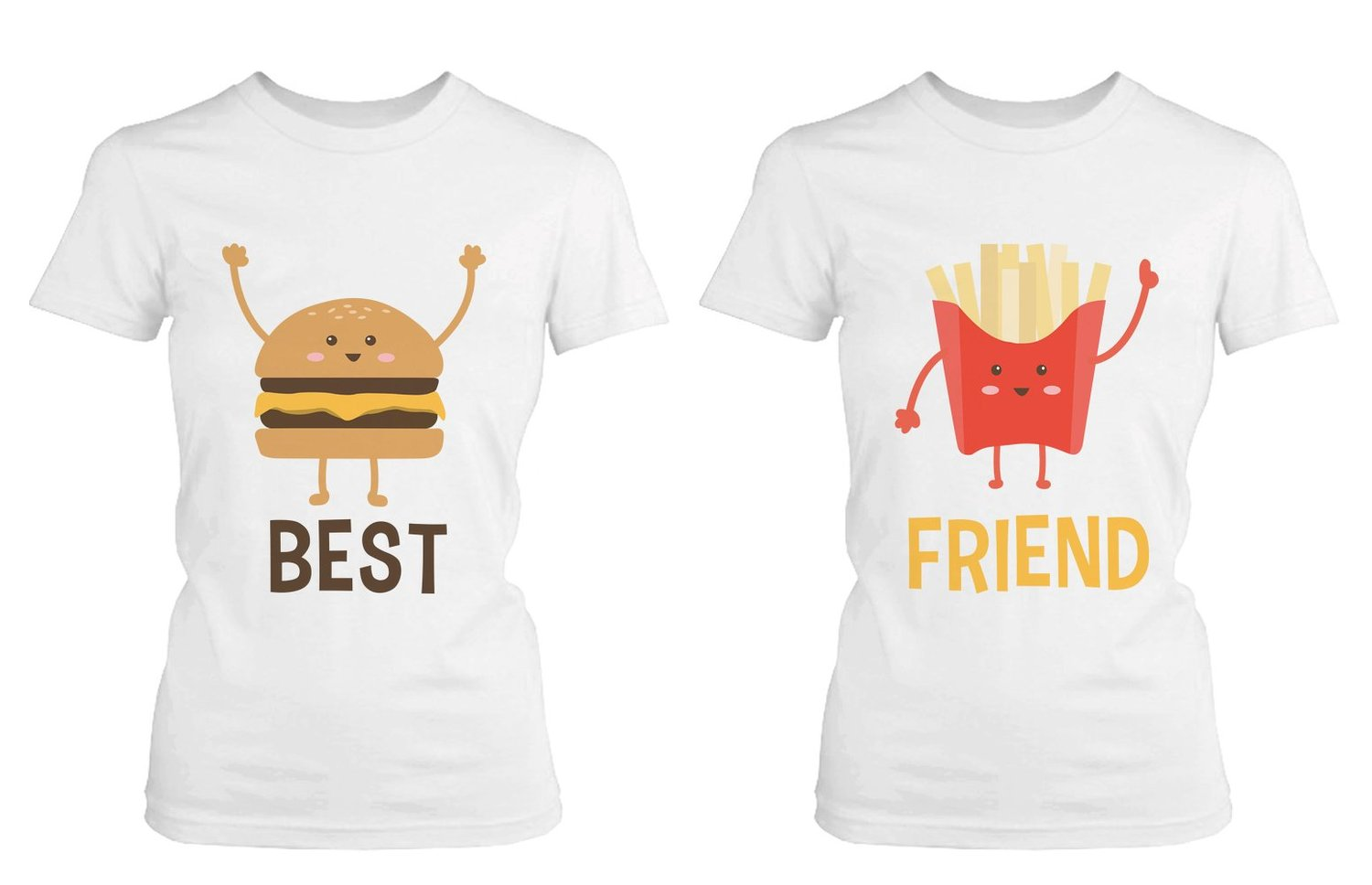 2f9dd31fd Amazon.com  Cute Best Friend T Shirts - Hamburger and Fries - Funny ...