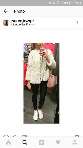 jacket blanc white fourrure fur bi-matiere veste