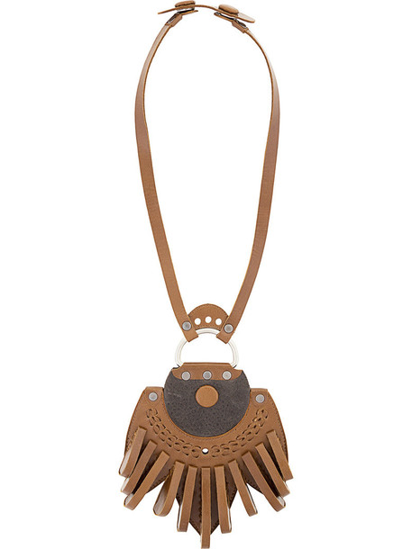 Papieta women necklace leather brown jewels