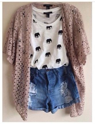 shirt cardigan t-shirt elephant print tank tee elephant shirt elephant print white shirt style shorts denim shorts