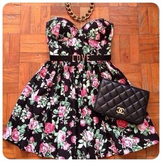 dress chanel skater dress floral cute girly spring summer fashion style