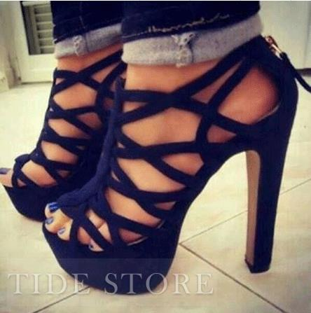Sexy Black Suede Cut-Outs Chunky Heel Sandals : tidestore.com