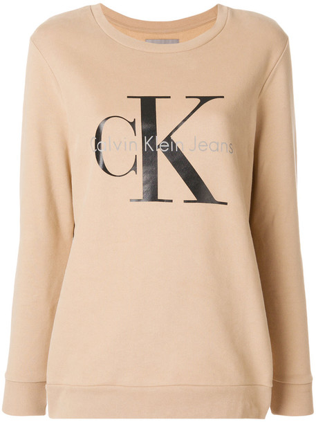 Calvin Klein Jeans sweatshirt women nude cotton print sweater