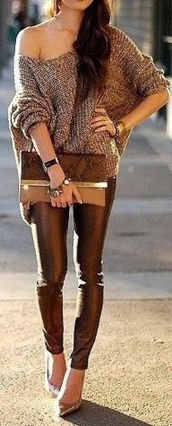 sweater pants leggings leather leggings shirt off the shoulder bag purse clutch shoes heels cute high heels bronze heels chic cute sexy cute sweater brown brown sweater cute pants jeans cute jeans brown pants brown jeans