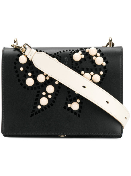 Salvatore Ferragamo women pearl embellished bag shoulder bag leather black