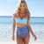 Retro Swimwear Vintage High waisted denim bottoms Padded bustier top bikini set | eBay