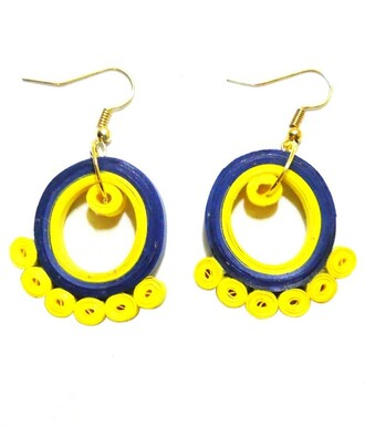 jewels dangling earrings gold circular mod funny eyepopping pop of color yellow blue retro colorful