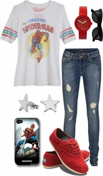 shirt spiderman superheroes superman t-shirt