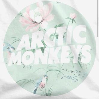 shirt arctic monkeys band t-shirt pastel top t-shirt floral birds birds shirt birds top white top white t-shirt quote on it sea foam green band band merch mint tumblr shirt arctic monkeys merchandise