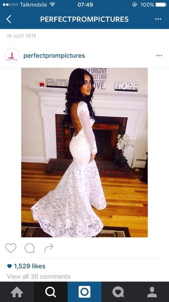 dress white appliqué embroidery nude prom gown fishtail mermaid
