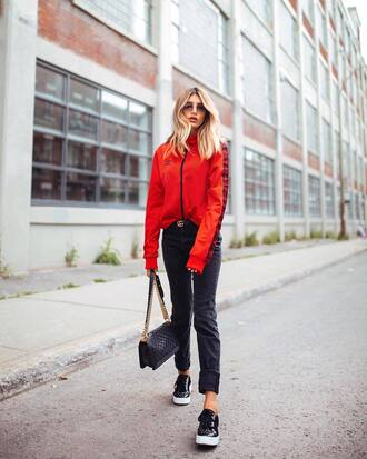 jeans tumblr black jeans sneakers low top sneakers sweatshirt red top top bag black bag sunglasses