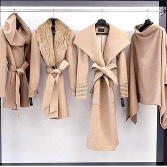 coat shawl collar tan jacket winter outfits chic classy closet needs street style fashion off-white white fall outfits black sweater fur faux fur trench coat beige draped fall sweater nude