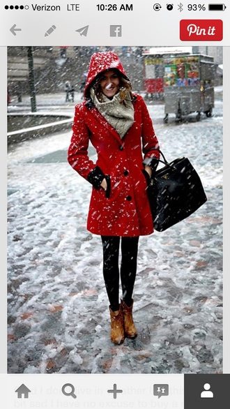 red coat coat cold weather coat