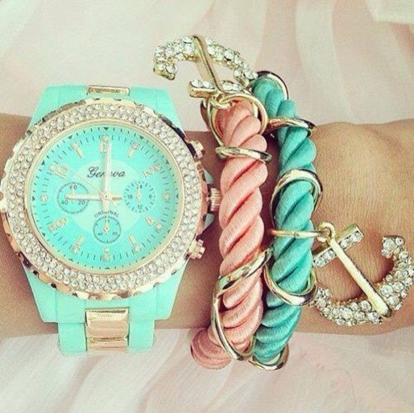 jewels watch pastel green light gold anchor bracelet anchor cute girly sparkle sparkle pink pink bracelets bleu bracelets light blue horloge diamonds watch jewelry silver
