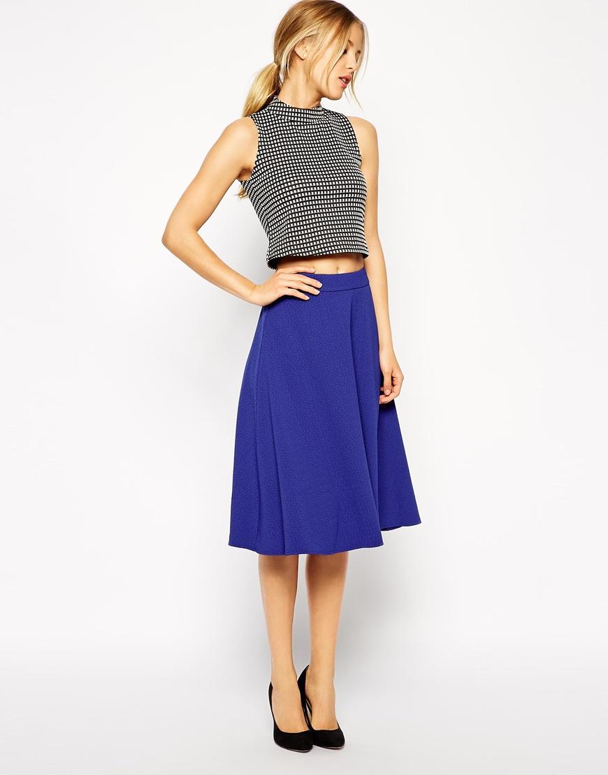 ASOS Midi Circle Skirt in Woven Crepe at asos.com