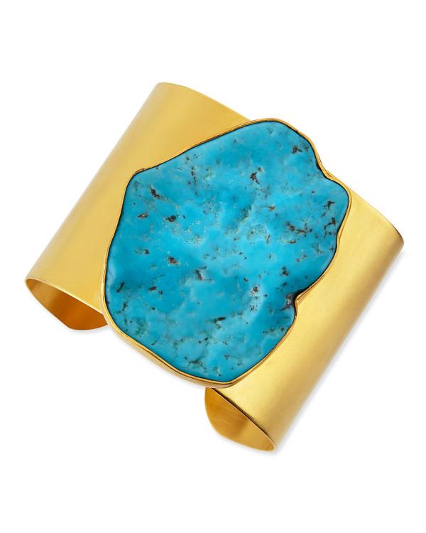 jewels dina mackney gold bracelets cuff 22k plated gold & large turquoise cuff large cuff turquoise