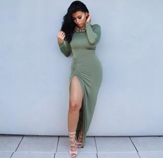 dress green dress maxi dress slit dress long sleeve dress
