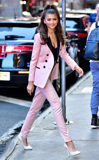 pants pumps blazer suit zendaya fall outfits pink shoes