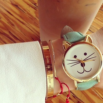 jewels gold bracelets watch cat eye cats cat ears kitty cute cute watch funny quote on it