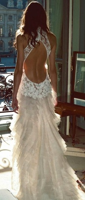 dress,wedding dress,wedding clothes,white dress,white,lace dress,lace,wedding,beautiful,perfect,colorful,feathers,open back