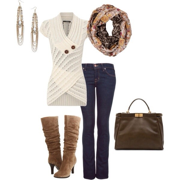 shoes jeans shirt scarf bag jewels cardigan sweater boots
