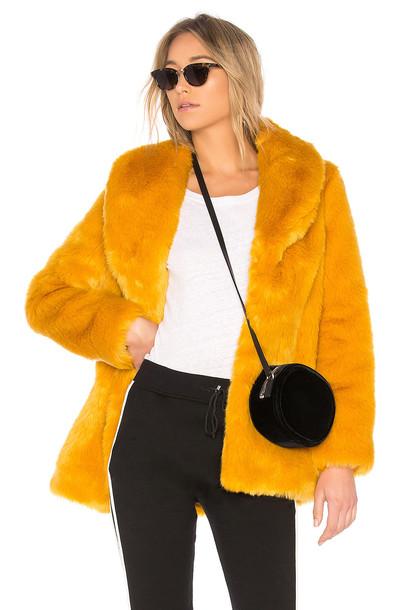 EAVES coat faux fur coat fur coat fur faux fur gold mustard