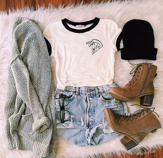 top pizza fall outfits cardigan boots beanie black white tumblr