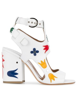 women sandals floral leather white shoes