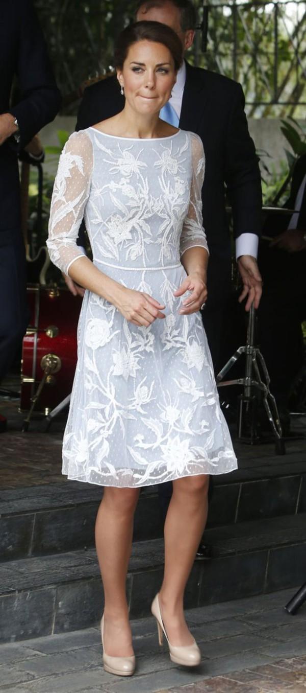 Dress Kate Middleton Embroidered Dress White Dress